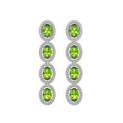 5.88 CTW Peridot & Diamond Halo Earrings 10K White Gold - REF-112W5F - 40529
