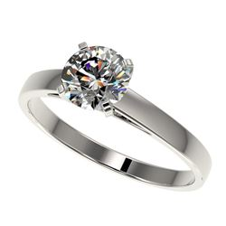 0.99 CTW Certified H-SI/I Quality Diamond Solitaire Engagement Ring 10K White Gold - REF-199H5A - 36