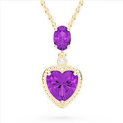 4 CTW Amethyst & VS/SI Diamond Designer Heart Necklace 10K Yellow Gold - REF-26W2F - 22519