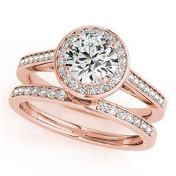 0.86 CTW Certified VS/SI Diamond 2Pc Wedding Set Solitaire Halo 14K Rose Gold - REF-135K6W - 30805