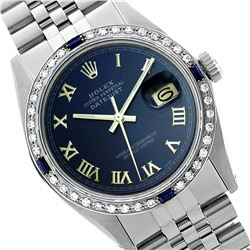 Rolex Men's Stainless Steel, QuickSet, Roman Dial with Diam/Sapphire Bezel - REF-521N7A