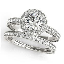 1.78 CTW Certified VS/SI Diamond 2Pc Wedding Set Solitaire Halo 14K White Gold - REF-411M3H - 31253