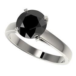 2.59 CTW Fancy Black VS Diamond Solitaire Engagement Ring 10K White Gold - REF-55F5N - 36563