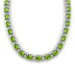 61.85 CTW Peridot & VS/SI Certified Diamond Necklace Gold 10K White Gold - REF-395X8T - 29513