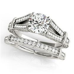 0.91 CTW Certified VS/SI Diamond Solitaire 2Pc Wedding Set Antique 14K White Gold - REF-148K5W - 314