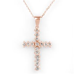 0.75 CTW Certified VS/SI Diamond Necklace 14K Rose Gold - REF-50K8W - 10568