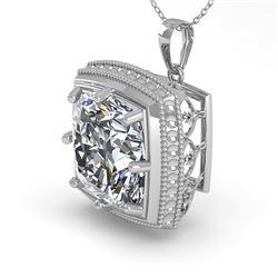 1 CTW VS/SI Cushion Cut Diamond Solitaire Necklace 18K White Gold - REF-332W8F - 36006