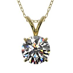 1.01 CTW Certified H-SI/I Quality Diamond Solitaire Necklace 10K Yellow Gold - REF-147X2T - 36755