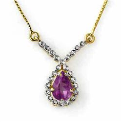 0.60 CTW Amethyst Necklace 10K Yellow Gold - REF-16W8F - 12889