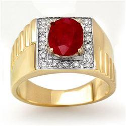 2.25 CTW Ruby & Diamond Men's Ring 10K Yellow Gold - REF-48A9X - 13484