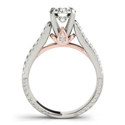 1.7 CTW Certified VS/SI Diamond Pave 2Pc Wedding Set 14K White & Rose Gold - REF-234X2T - 32060