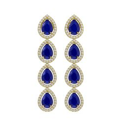 10.2 CTW Sapphire & Diamond Halo Earrings 10K Yellow Gold - REF-155Y5K - 41146