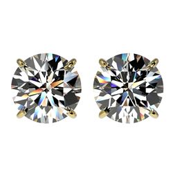 3 CTW Certified H-SI/I Quality Diamond Solitaire Stud Earrings 10K Yellow Gold - REF-645A2X - 33122