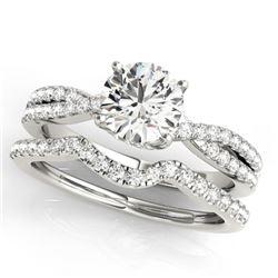 0.95 CTW Certified VS/SI Diamond Solitaire 2Pc Wedding Set 14K White Gold - REF-137X6T - 31910