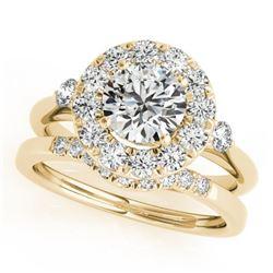 1.37 CTW Certified VS/SI Diamond 2Pc Wedding Set Solitaire Halo 14K Yellow Gold - REF-220T2M - 30764