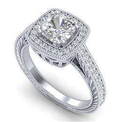 1.77 CTW Cushion VS/SI Diamond Solitaire Art Deco Ring 18K White Gold - REF-459Y3K - 37031
