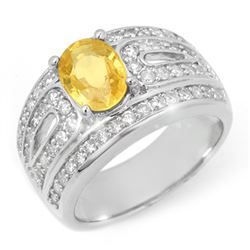 3.04 CTW Yellow Sapphire & Diamond Ring 18K White Gold - REF-150F5N - 10738