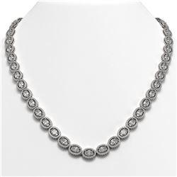 34.96 CTW Oval Diamond Designer Necklace 18K White Gold - REF-6441K8W - 42704