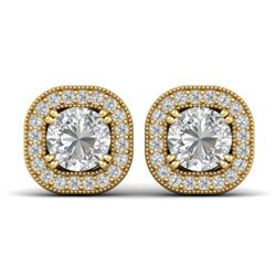 1.35 CTW Certified VS/SI Diamond Stud Micro Halo Earrings 14K Yellow Gold - REF-177A3X - 30434