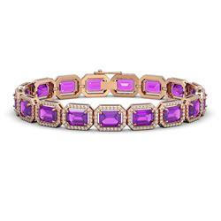22.81 CTW Amethyst & Diamond Halo Bracelet 10K Rose Gold - REF-302A9X - 41418
