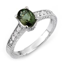 1.25 CTW Green Tourmaline & Diamond Ring 14K White Gold - REF-40N9Y - 10726