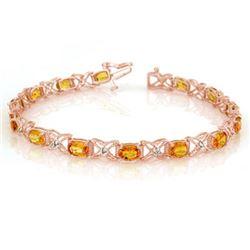 10.15 CTW Yellow Sapphire & Diamond Bracelet 18K Rose Gold - REF-163T6M - 10918