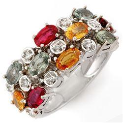 4.20 CTW Multi-Sapphire & Diamond Ring 10K White Gold - REF-51W8F - 11064