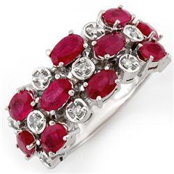 3.20 CTW Ruby & Diamond Ring 10K White Gold - REF-46Y9K - 11177