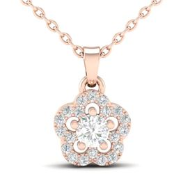 0.28 CTW VS/SI Diamond Micro Pave VS/SI Diamond Necklace Moon Halo 10K Rose Gold - REF-23X8T - 21346