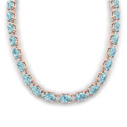 61.85 CTW Sky Blue Topaz & VS/SI Certified Diamond Necklace 10K Rose Gold - REF-264K9W - 29523