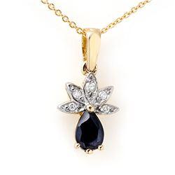 0.60 CTW Blue Sapphire & Diamond Pendant 10K Yellow Gold - REF-12X4T - 13172