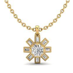1.33 CTW VS/SI Diamond Solitaire Art Deco Necklace 18K Yellow Gold - REF-220A9X - 37069