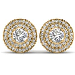 1.45 CTW I-SI Diamond Solitaire Art Deco Halo Stud Earrings 14K Yellow Gold - REF-126X2T - 30368