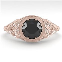 1.0 CTW Black Certified Diamond Engagement Ring Deco Size 7 18K Rose Gold - REF-65A3X - 36035