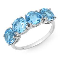 3.66 CTW Blue Topaz Ring 10K White Gold - REF-18A2X - 12749