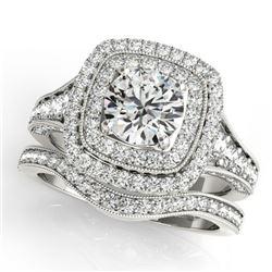 2.28 CTW Certified VS/SI Diamond 2Pc Wedding Set Solitaire Halo 14K White Gold - REF-449F6N - 30912