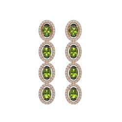 5.88 CTW Tourmaline & Diamond Halo Earrings 10K Rose Gold - REF-121T3M - 40524