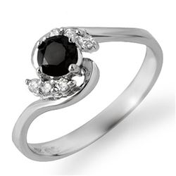 0.50 CTW VS Certified Black & White Diamond Ring 10K White Gold - REF-23T6M - 14035