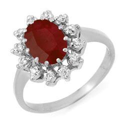1.22 CTW Ruby & Diamond Ring 10K White Gold - REF-23F5N - 12512