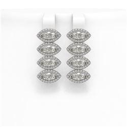 5.92 CTW Marquise Diamond Designer Earrings 18K White Gold - REF-1098T8M - 42836
