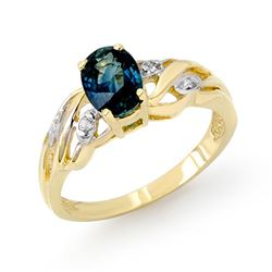 1.13 CTW Blue Sapphire & Diamond Ring 10K Yellow Gold - REF-20H2A - 12965