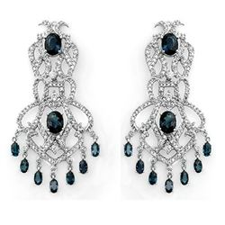 17.60 CTW Blue Sapphire & Diamond Earrings 18K White Gold - REF-644H8A - 11848