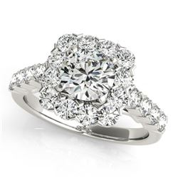 2.22 CTW Certified VS/SI Diamond Solitaire Halo Ring 18K White Gold - REF-271F3N - 26209