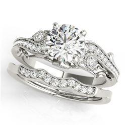 1.32 CTW Certified VS/SI Diamond Solitaire 2Pc Wedding Set Antique 14K White Gold - REF-427W3F - 315