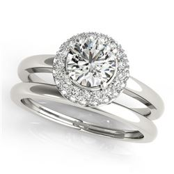 1.43 CTW Certified VS/SI Diamond 2Pc Wedding Set Solitaire Halo 14K White Gold - REF-378W5F - 30921