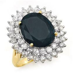 15.55 CTW Blue Sapphire & Diamond Ring 14K Yellow Gold - REF-236W4F - 12991