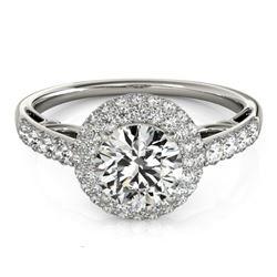 1.65 CTW Certified VS/SI Diamond Solitaire Halo Ring 18K White Gold - REF-411K8W - 26497