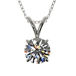 0.75 CTW Certified H-SI/I Quality Diamond Solitaire Necklace 10K White Gold - REF-97M5H - 33172