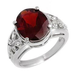 6.15 CTW Garnet & Diamond Ring 10K White Gold - REF-40F2N - 11010