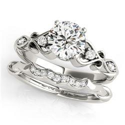 0.97 CTW Certified VS/SI Diamond Solitaire 2Pc Wedding Set Antique 14K White Gold - REF-212F8N - 315